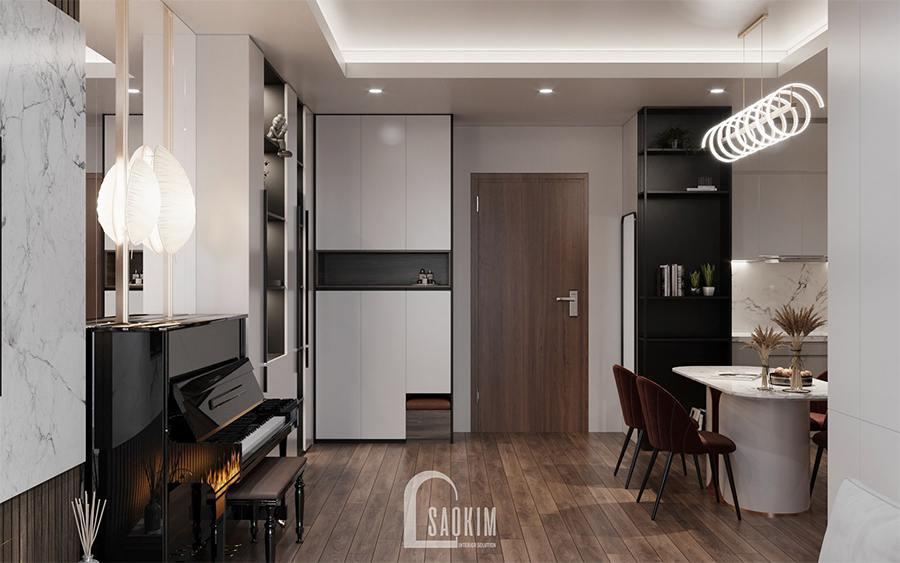 Thiết kế nội thất chung cư 85m2 Moon Tower Tây Hồ Residence đầy tiện nghi nhờ phong cách nội thất hiện đại