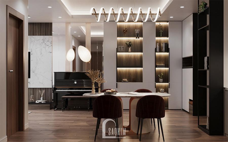 Thiết kế chung cư 85m2 2 phòng ngủ Moon Tower Tây Hồ Residence lựa chọn không gian mở cho khu vực phòng khách, bếp, phòng ăn