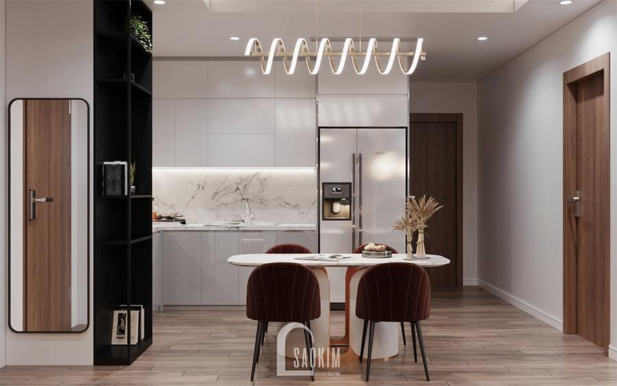 Thiết kế nội thất phòng bếp ăn chung cư 85m2 Moon Tower Tây Hồ Residence với gam màu trắng làm chủ đạo