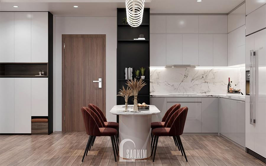 Thiết kế nội thất phòng bếp ăn chung cư 85m2 Moon Tower Tây Hồ Residence với điểm nhấn là bộ ghế ăn đỏ đô