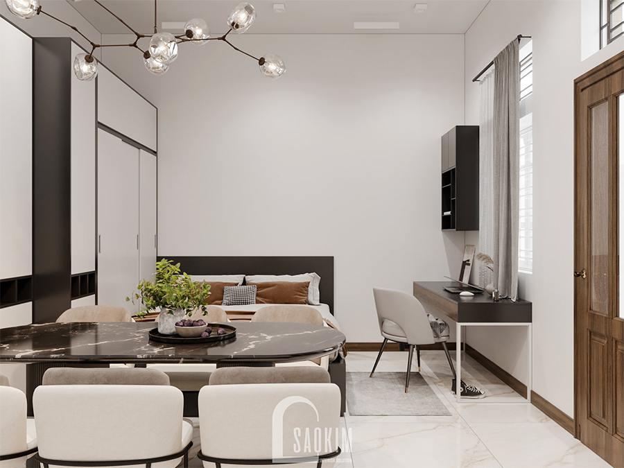 Thiết kế nội thất phòng ngủ nhà phố hiện đại vẫn lựa chọn gam màu trắng làm chủ đạo kết hợp màu nâu, đen và xám