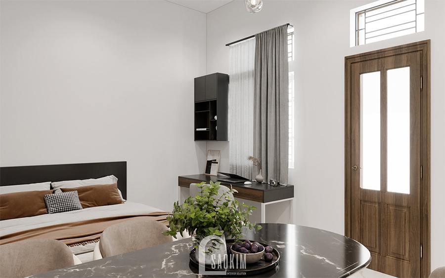 Thiết kế nội thất phòng ngủ nhà phố hiện kết hợp phòng ăn