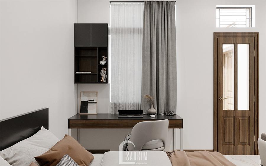 Thiết kế nội thất nhà phố hiện đại kết hợp phòng ngủ cho khách với phòng ăn