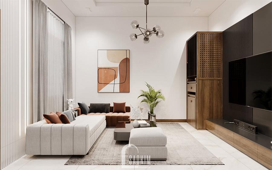 Thiết kế nội thất nhà phố hiện đại đẹp 3 tầng Chúc Sơn - Chương Mỹ lựa chọn gam màu trắng làm chủ đạo