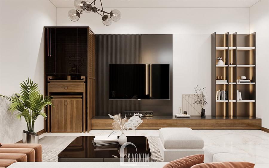 Thiết kế nội thất phòng khách nhà phố hiện đại Chúc Sơn - Chương Mỹ