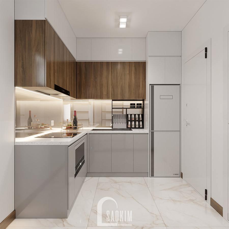 Thiết kế nội thất phòng bếp nhà phố hiện đại đẹp 3 tầng Chúc Sơn - Chương Mỹ