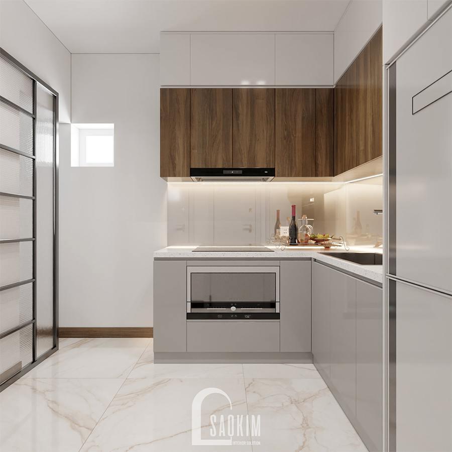 Phòng bếp thiết kế nội thất nhà phố hiện đại đẹp 3 tầng Chúc Sơn - Chương Mỹ