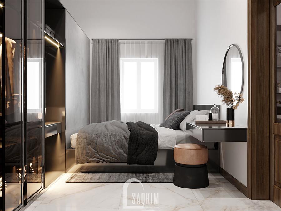 Thiết kế nội thất phòng ngủ master nhà phố hiện đại đẹp Chúc Sơn - Chương Mỹ với sự kết hợp gam màu xám và trắng