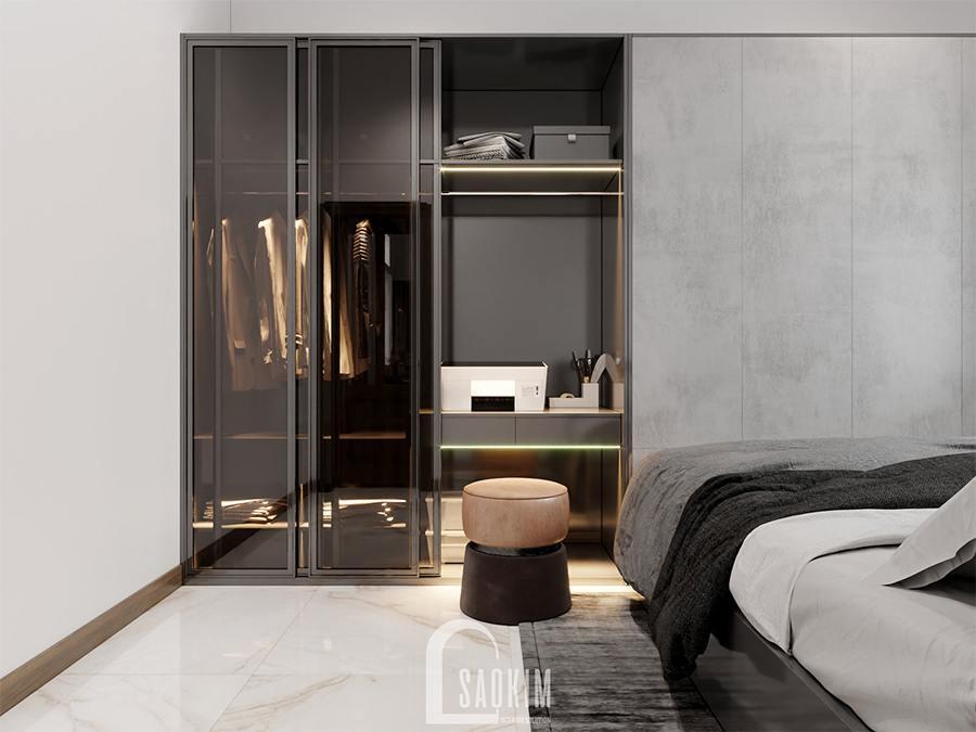 Thiết kế nội thất phòng ngủ master nhà phố theo phong cách hiện đại