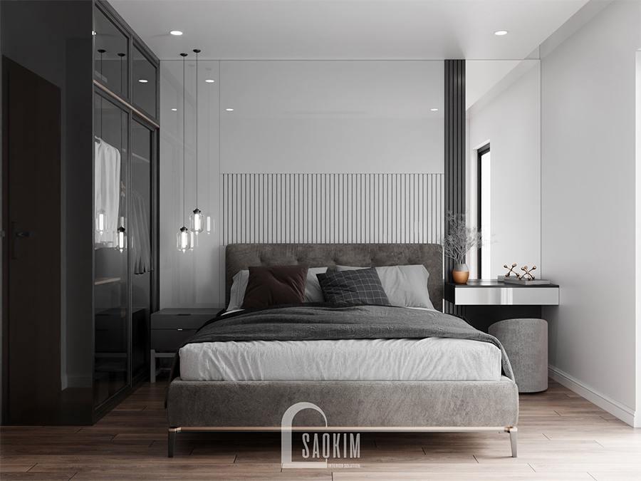 Thiết kế nội thất phòng ngủ 4 nhà phố theo phong cách hiện đại có phần cá tính, mạnh mẽ hơn nhờ kết hợp cấp độ đậm nhạt khác nhau của gam màu xám