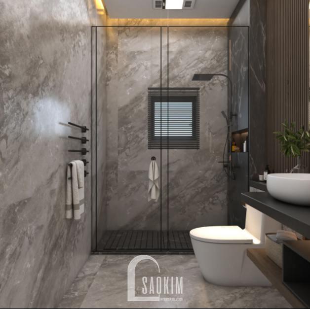 Thiết kế nội thất phòng tắm nhà phố phong cách hiện đại Chúc Sơn - Chương Mỹ ốp toàn bộ đá vân màu xám