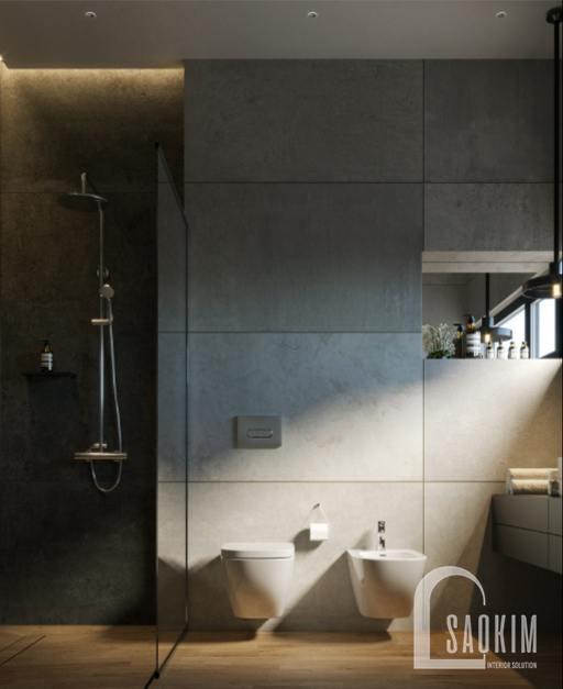 Thiết kế nội thất phòng tắm 2 nhà phố 3 tầng Chúc Sơn - Chương Mỹ