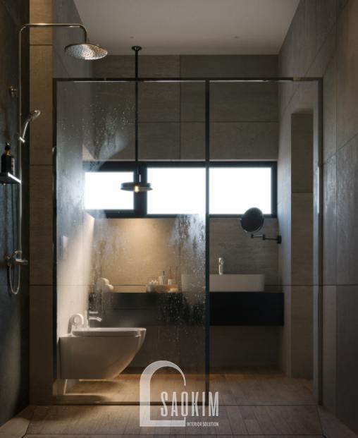 Thiết kế nội thất phòng tắm 2 nhà phố 3 tầng Chúc Sơn - Chương Mỹ theo phong cách hiện đại