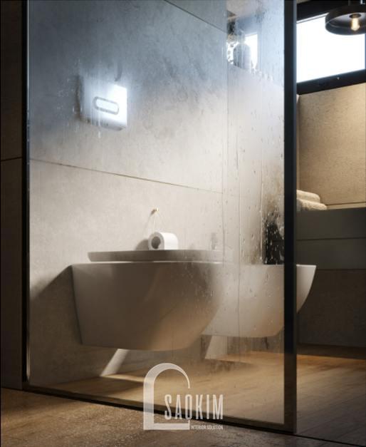 Thiết kế nội thất phòng tắm 2 nhà phố 3 tầng Chúc Sơn - Chương Mỹ lựa chọn thiết bị vệ sinh cao cấp